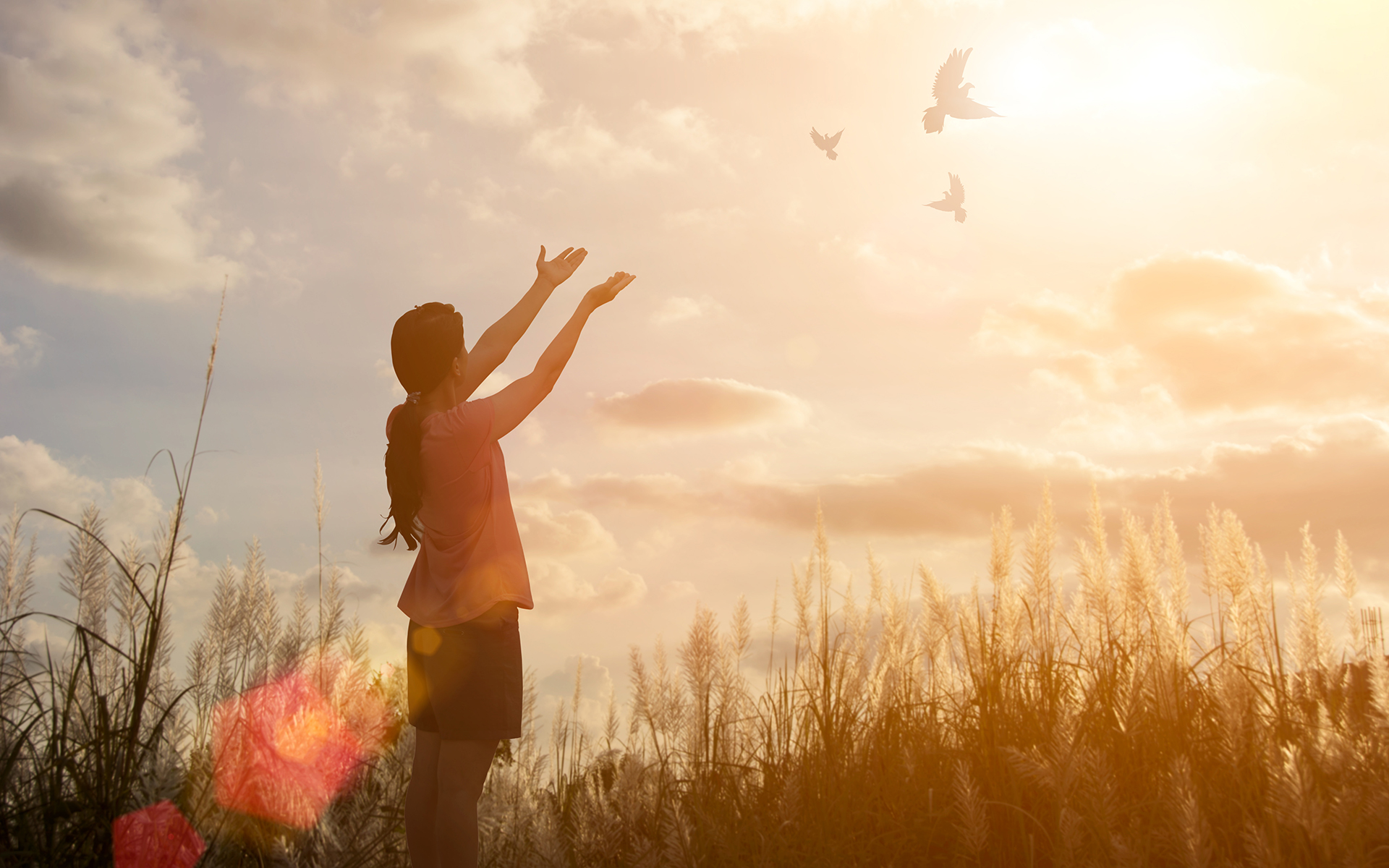 A 3-Minute Meditation to Cultivate Forgiveness - Freedom concept: Silhouette woman hand broken chains and praying