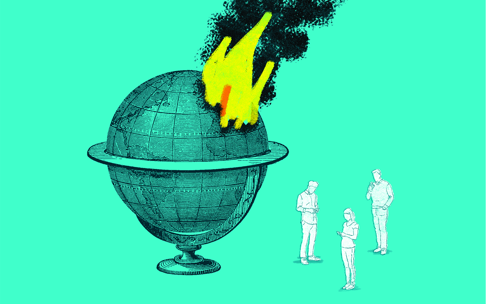 Empathy Fatigue is All Too Real - Illustration of people ignoring a burning globe