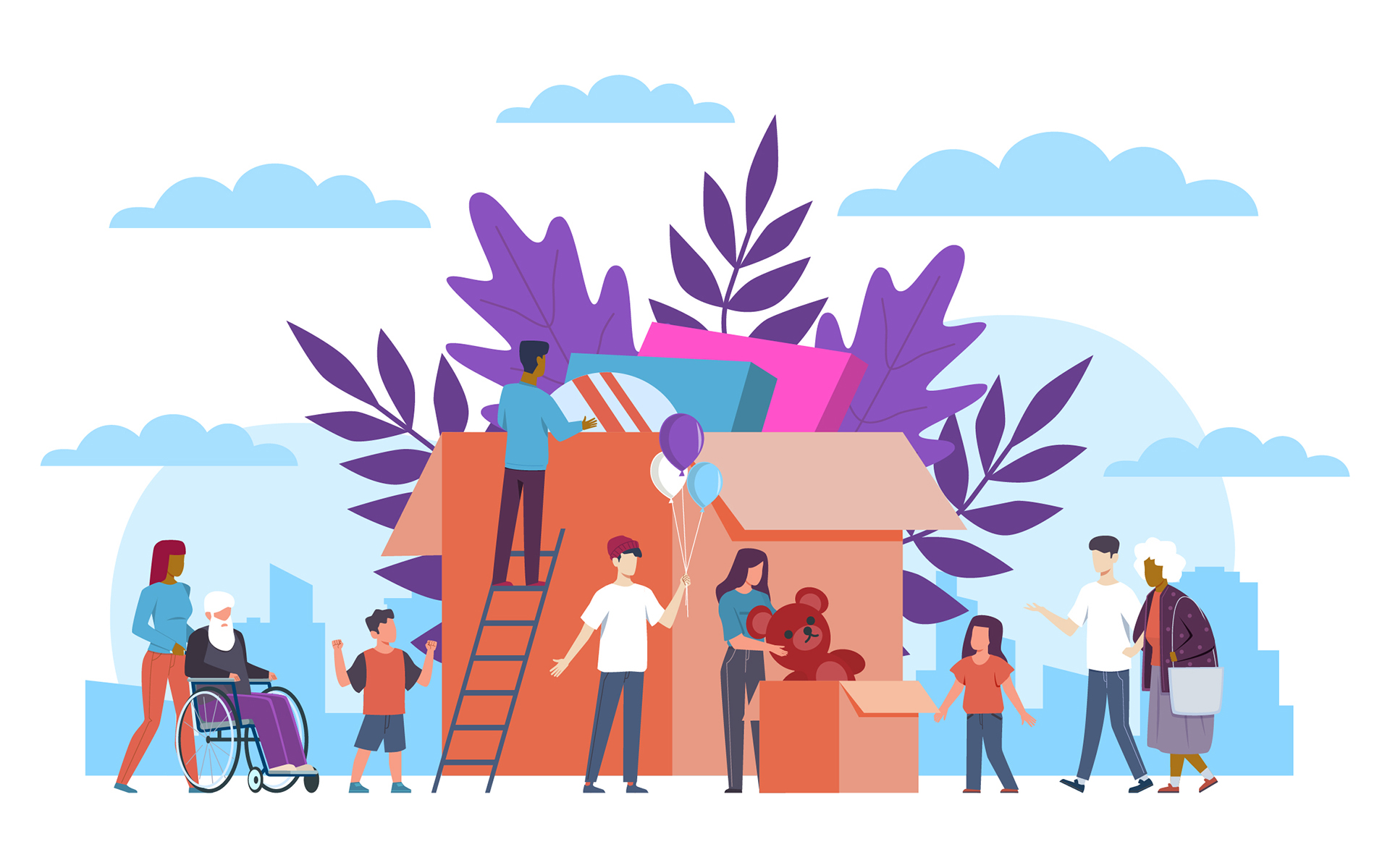 Illustration of a community coming together to help each other