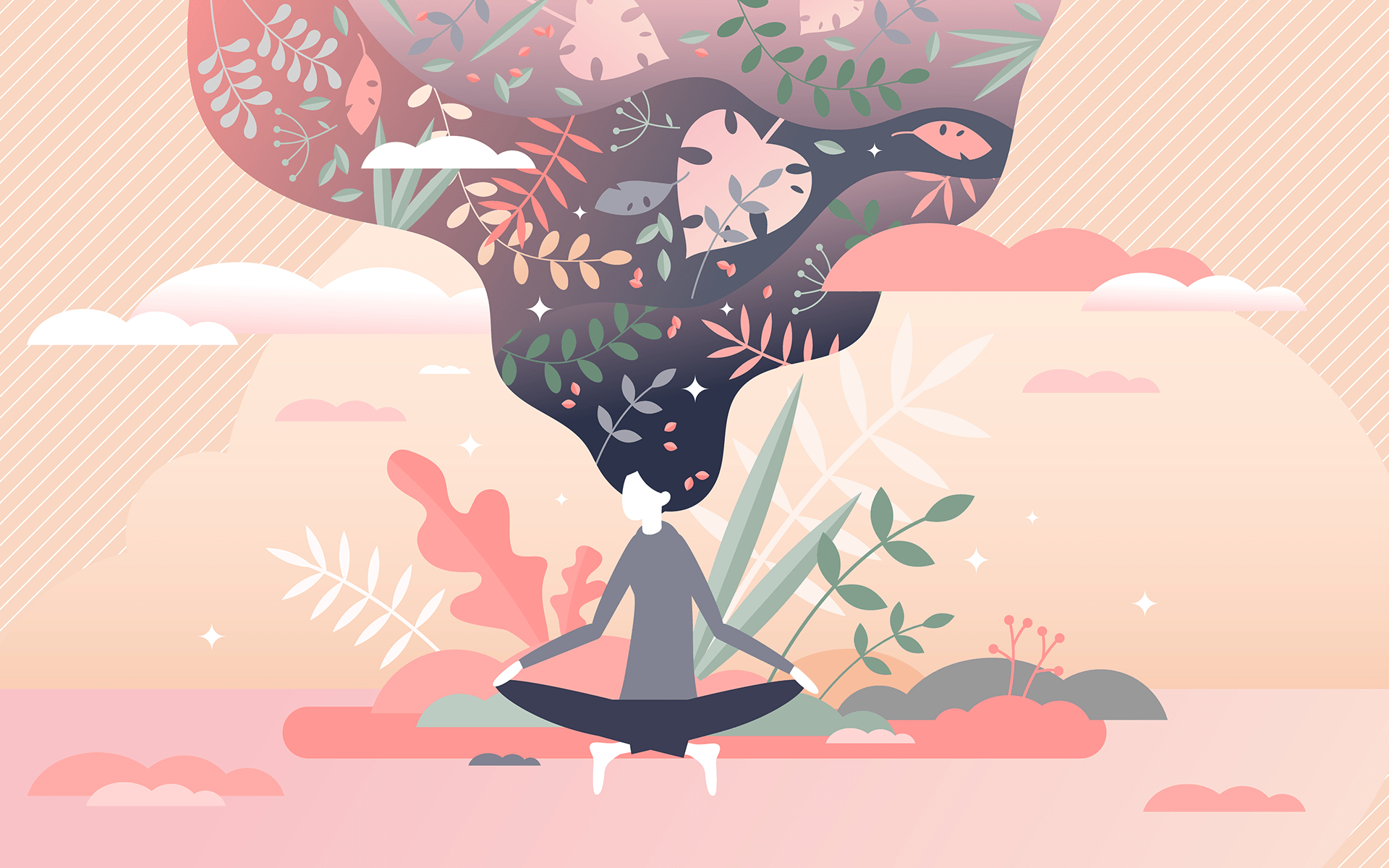 How to Regain Focus When Your Mind Wanders—Illustration of a woman meditating in a pink background depicting nature and her black hair flows upwards with flowers, leaves, etc. in it.