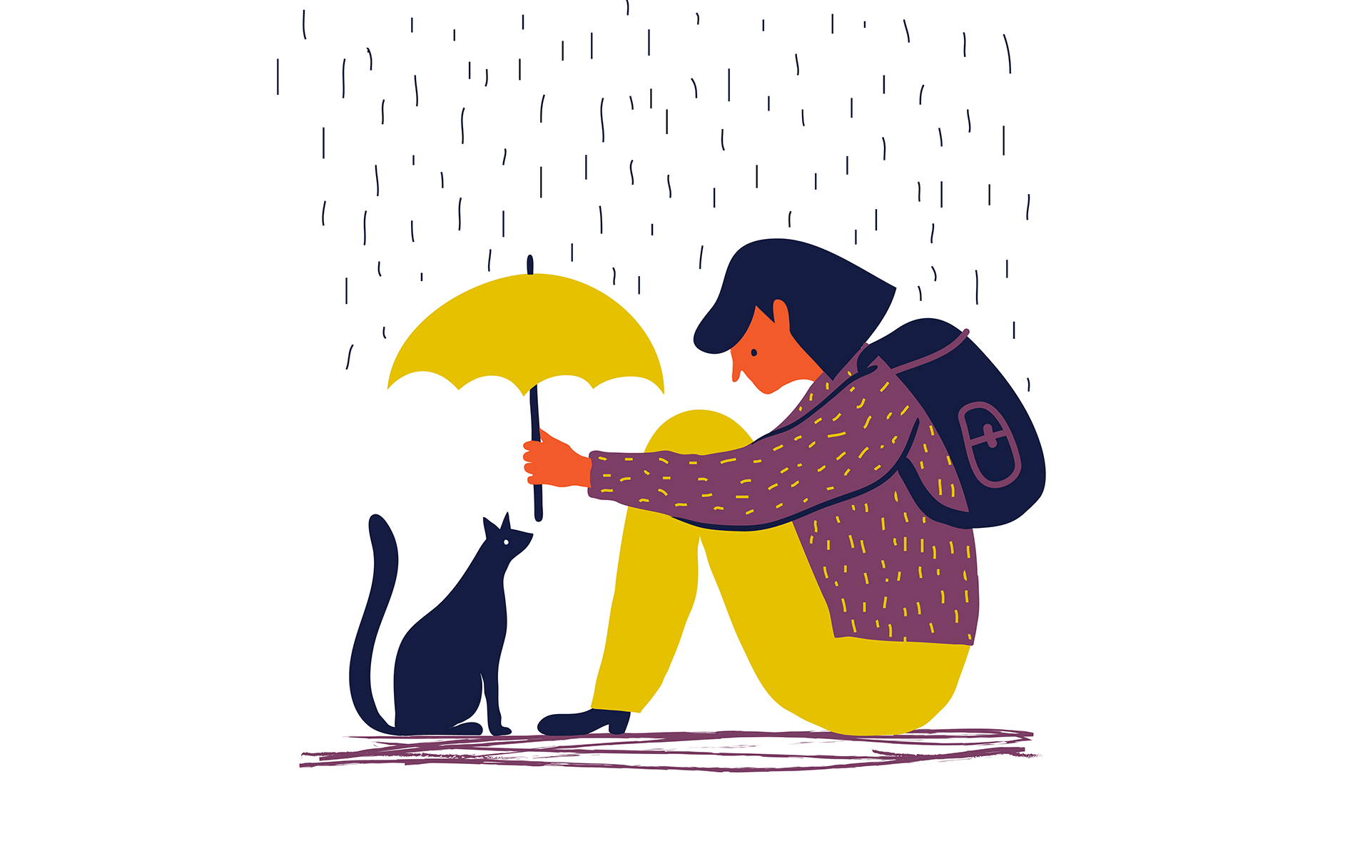 How to Show Up Intentionally and Lovingly in Difficult Situations—Illustration of a girl sitting on the ground under rain and holding an umbrella up to cover a cat that sits in front of her.