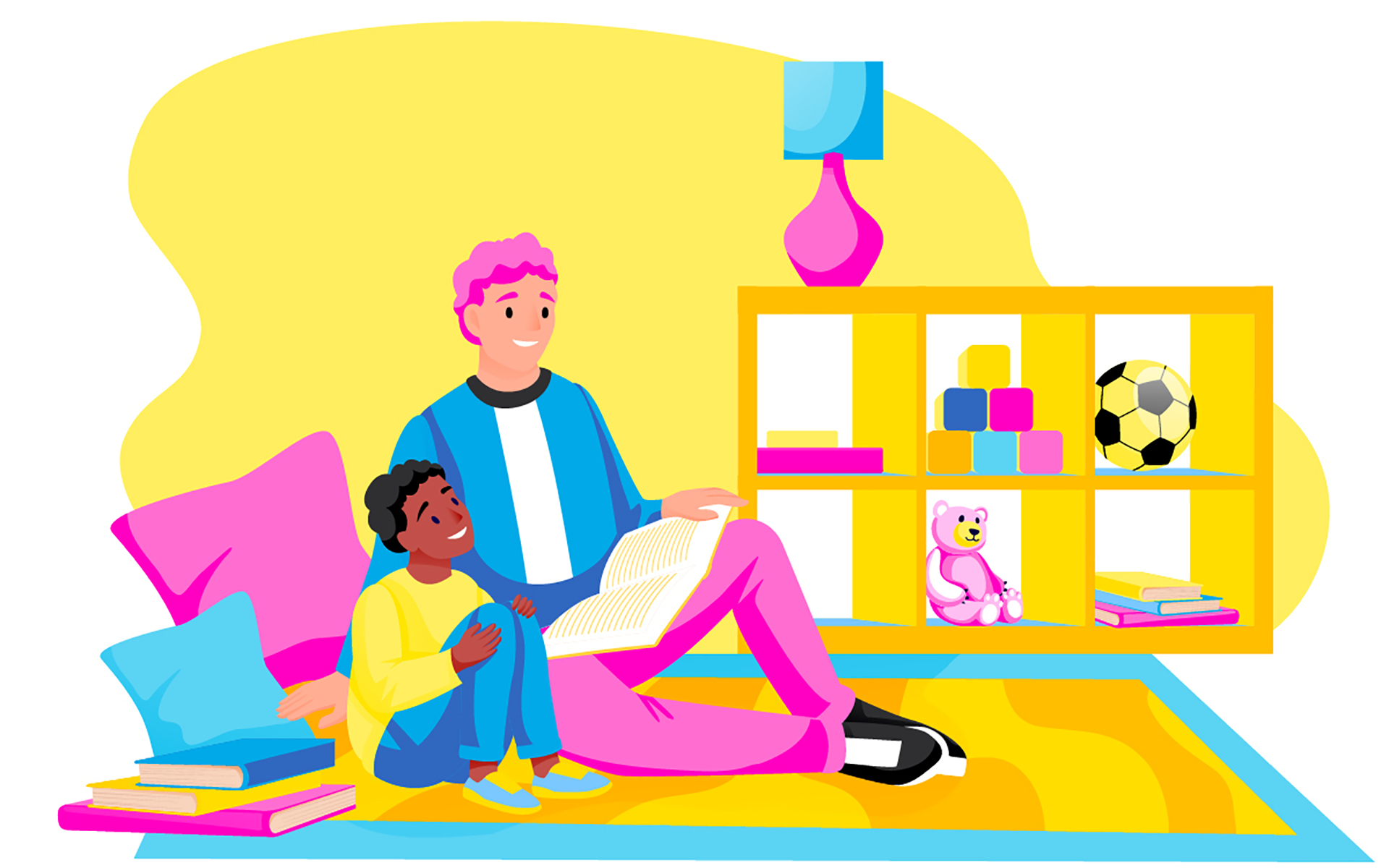 Liberating Masculinity With Edward M. Adams and Ed Frauenheim—Illustration of a middle-aged white man and a Black boy sitting on a carpet reading a book.