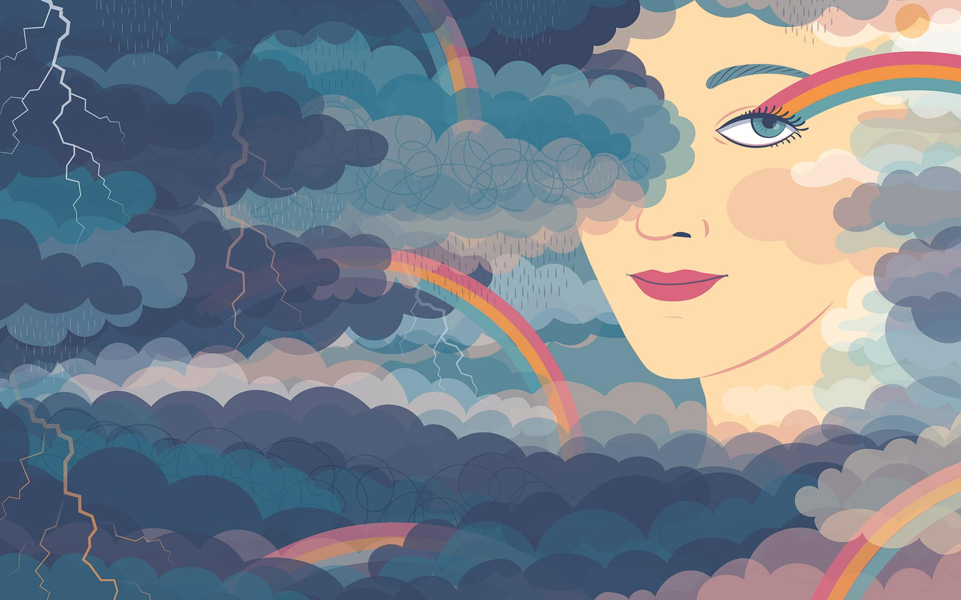 Woman's face in clouds
