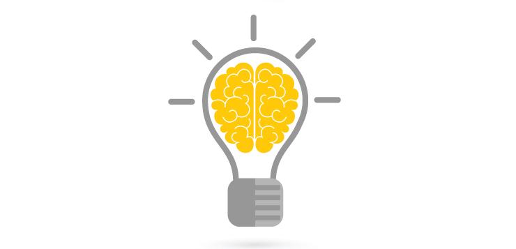 illustration brain in light bulb