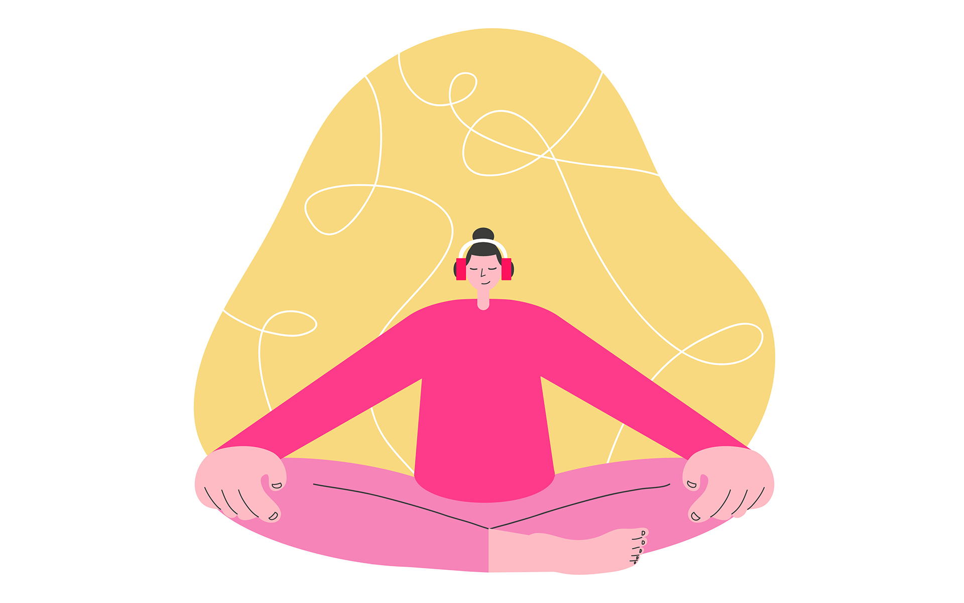 New Meditation Apps to Download Right Now - A female wearing pink t-shirt and pink trousers meditating
