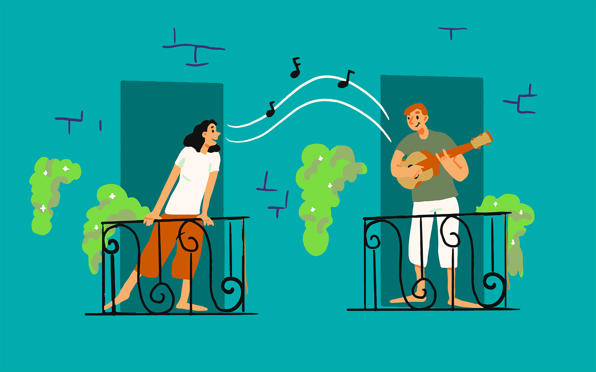 3 Ways to Nurture the Positive in Difficult Times - Illustration of two people on separate balconies singing during COVID-19