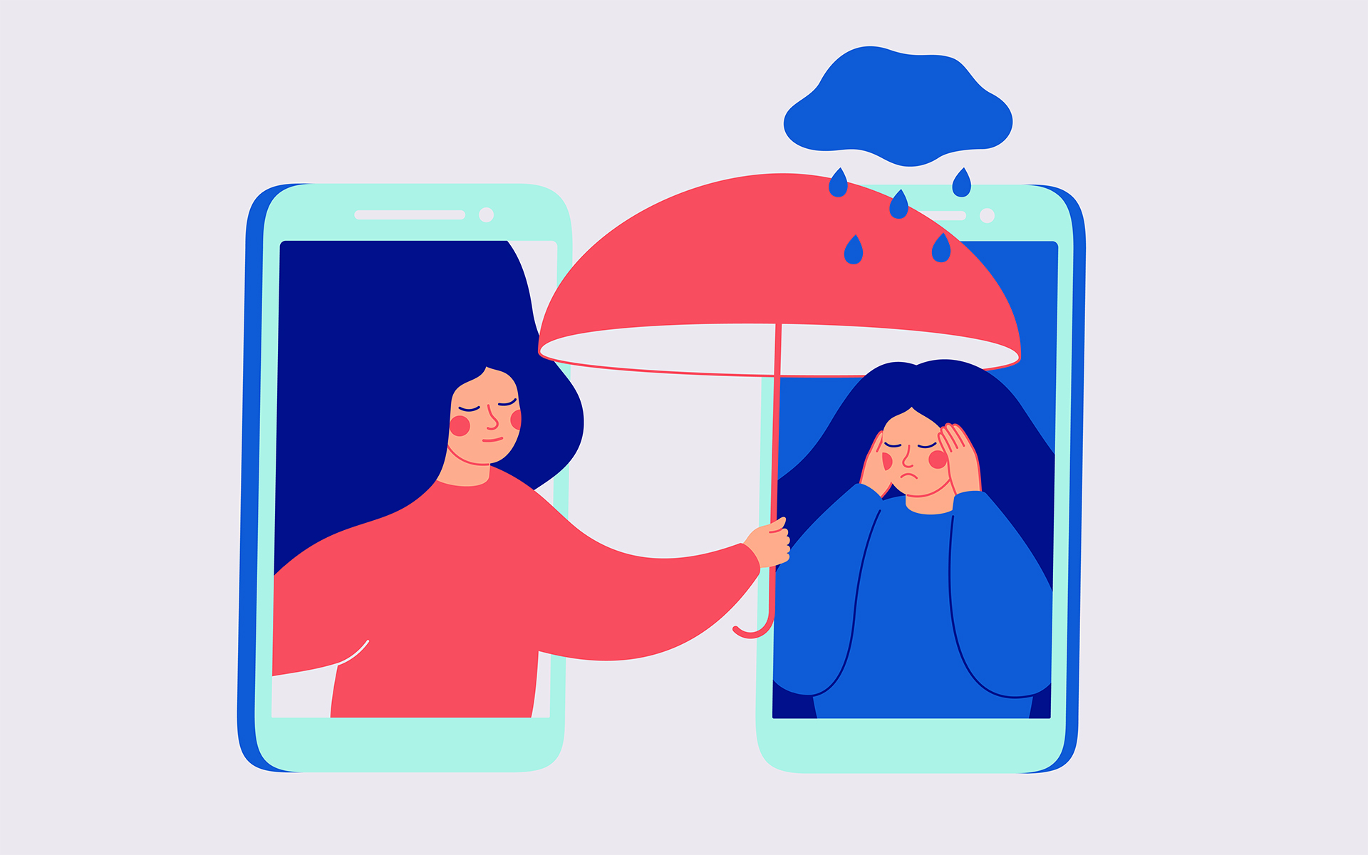 Turning moments of anger into moments of action - Illustration of a woman holding an umbrella for another woman