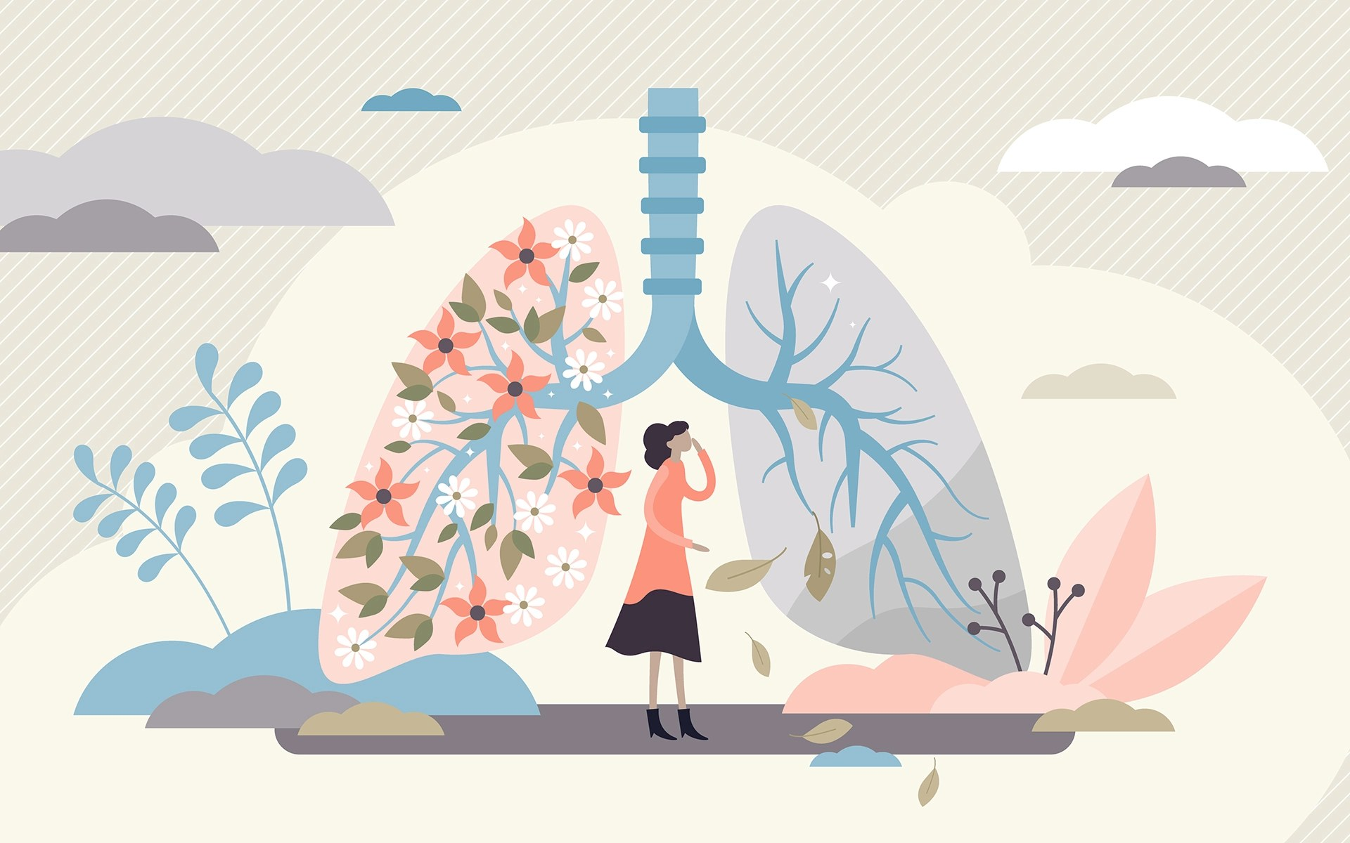 Why Your Breath is Connected to Your Well-Being - Lung health vector illustration