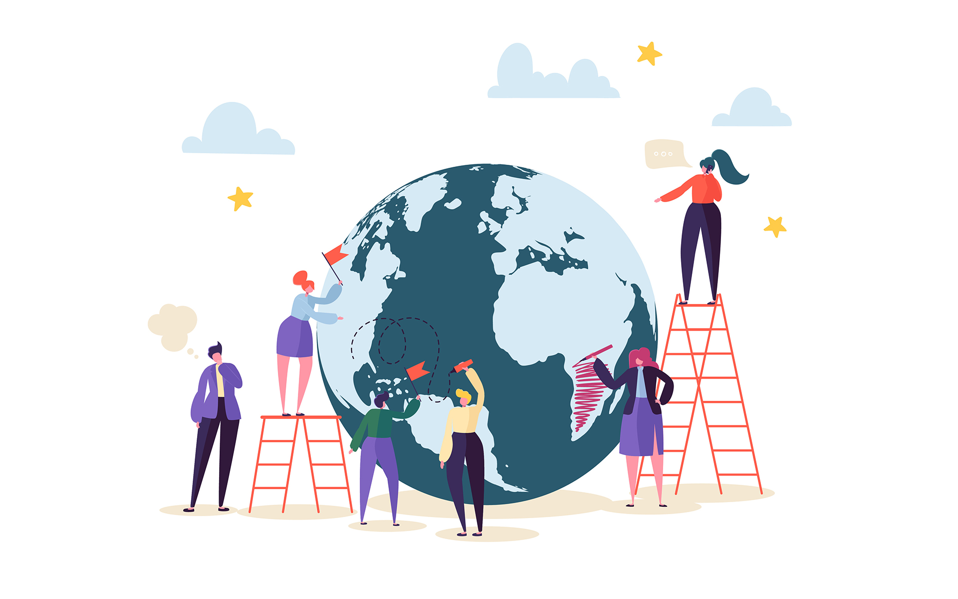 Why now is the time to be mindful - Global Business Concept with Characters Working Together. People