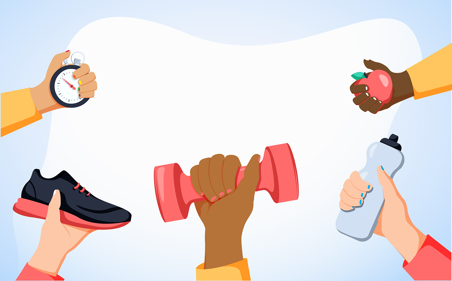 illustration of five arms holding workout gear reaching in a circle toward each other. They're holding an apple, a water bottle, a weight, a running shoe, and a stopwatch. The background is blue and white.