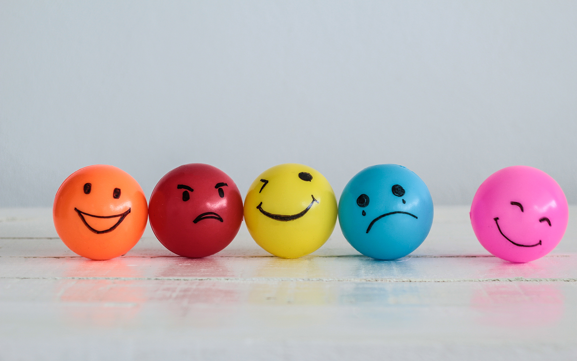 Why you are not your moods - Emotions balls background, Happy Smiley faces ball in yellow
