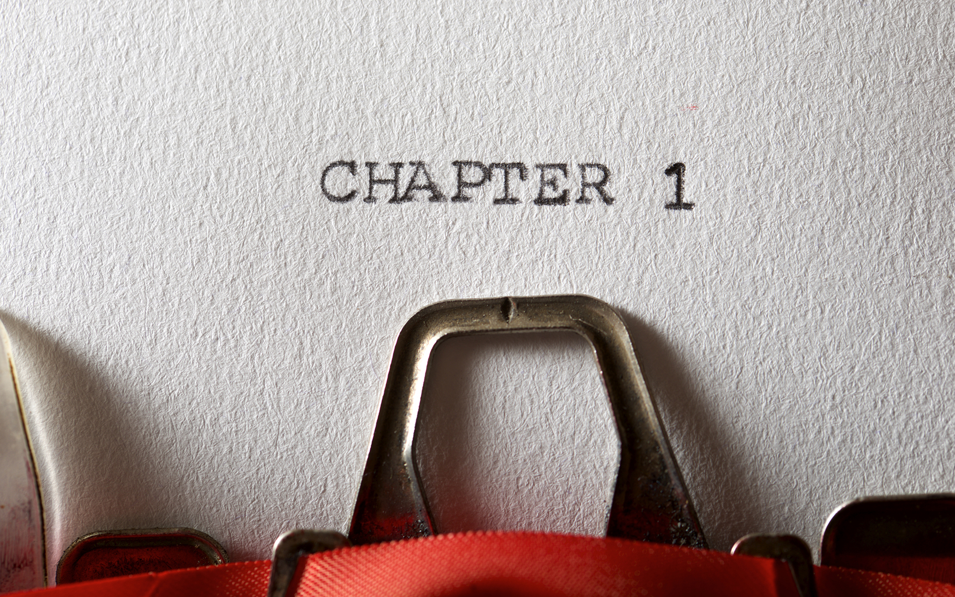 A practice to embrace new beginnings - The sentence, Chapter 1, written with a typewriter