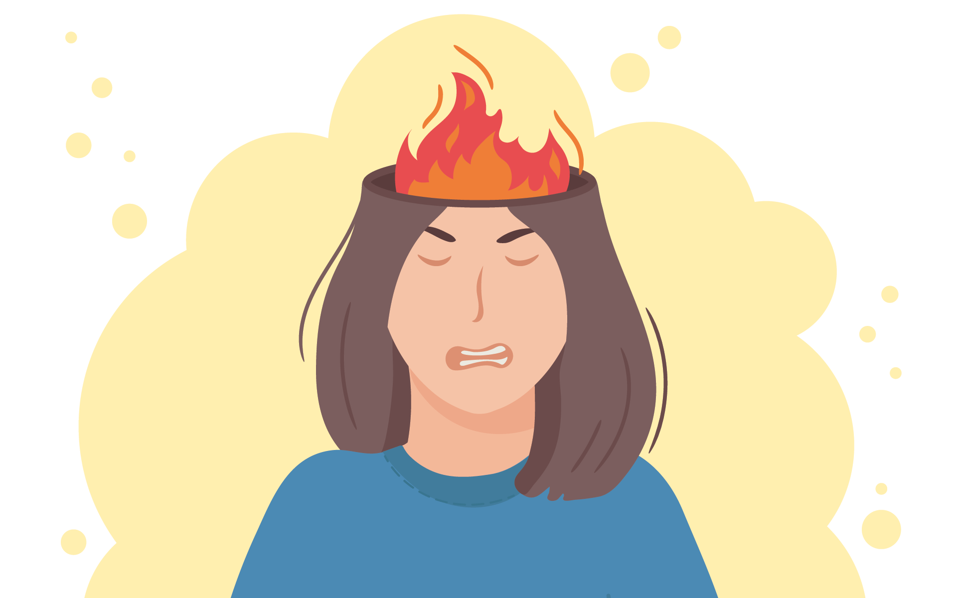 illustration of hair on fire