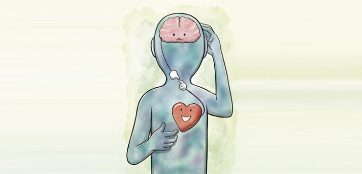 illustration of connection between brain and heart