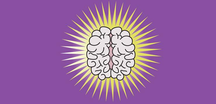 illustrated brain on purple background