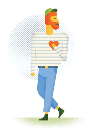 illustration ginger-bearded man with hand on heart