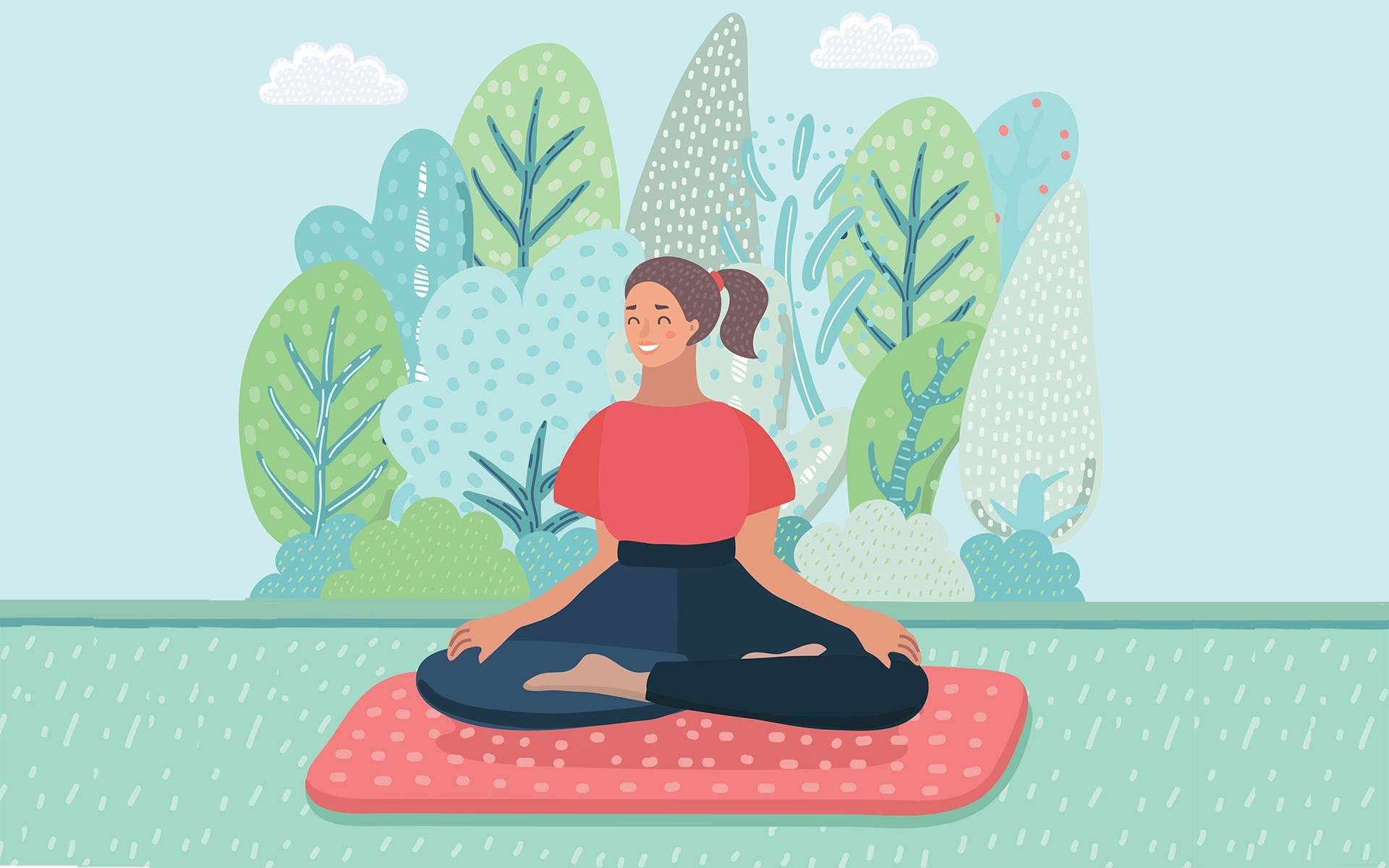 10-Minute Meditation to Ground, Breathe, Soothe - Woman was meditating in morning and rays of light on landscape