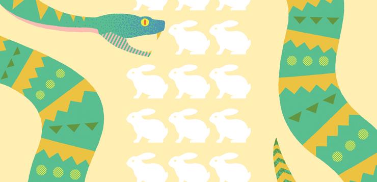 illustration snake surrounding white rabbits