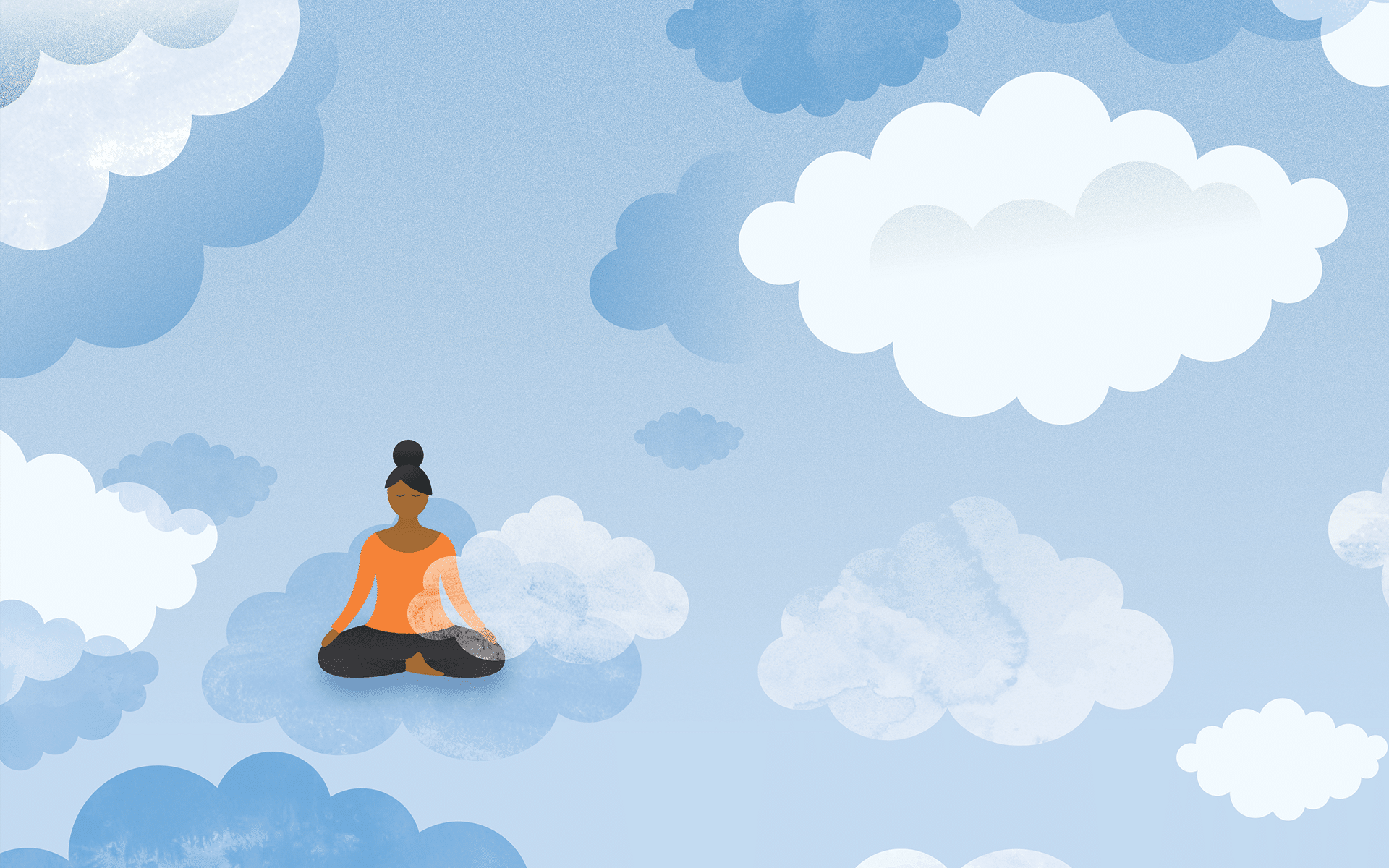 illustration of woman meditating in clouds