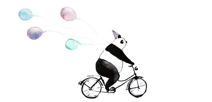 watercolor panda on a bike, balloons trailing behind