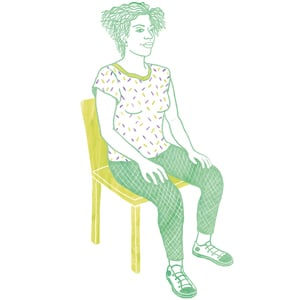 illustration woman sitting in a chair to meditate