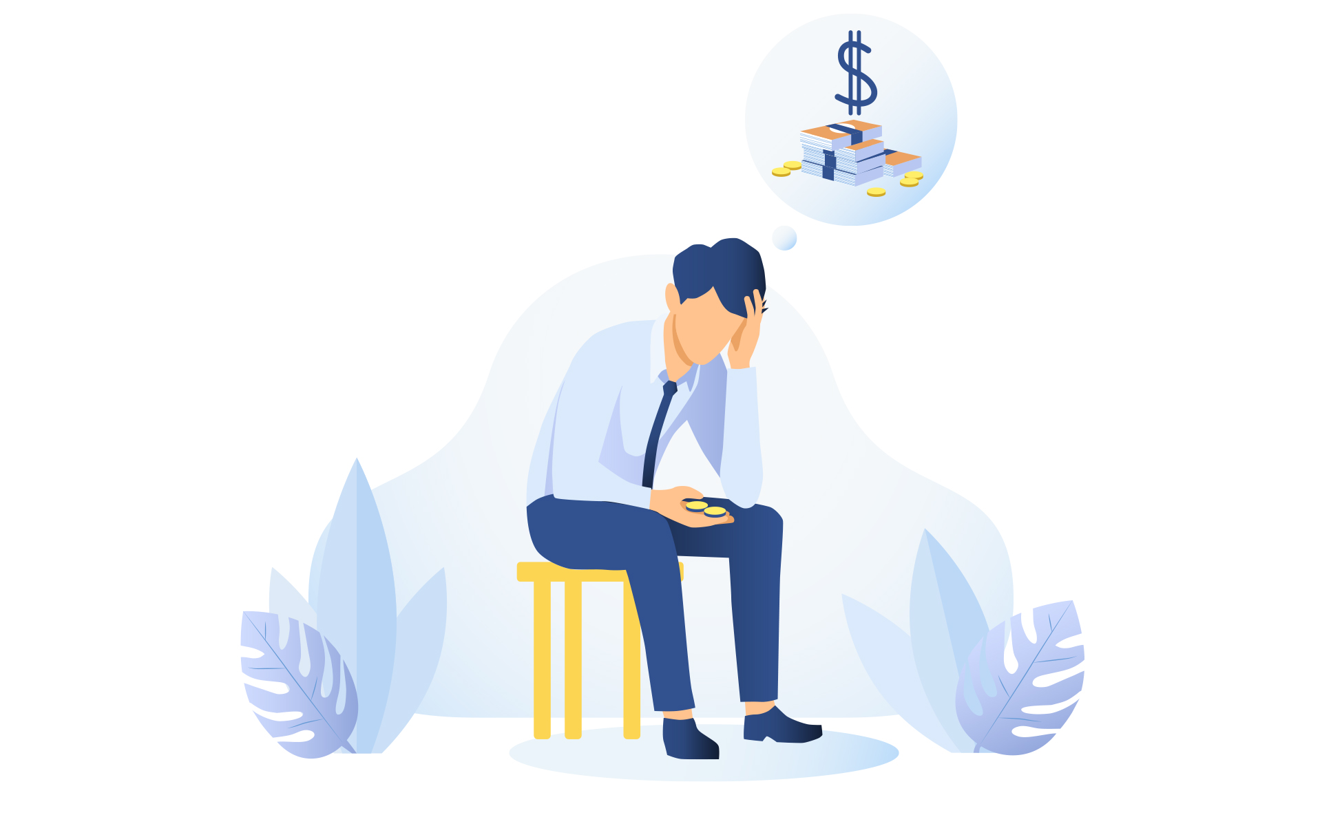 Guided meditation to ease financial stress - Illustration of a man worried about money