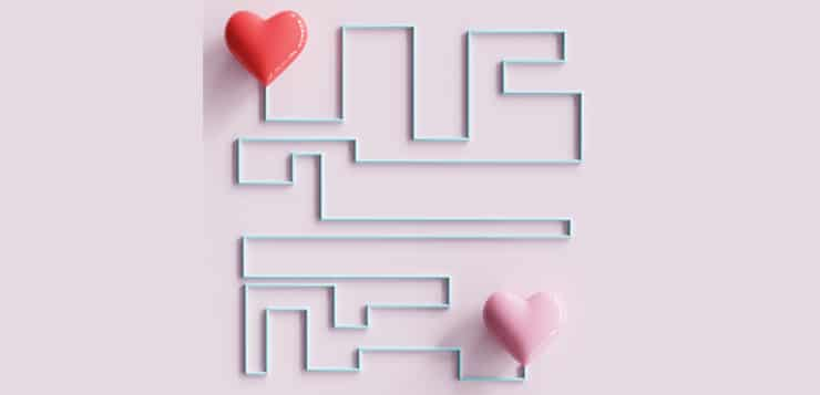 hearts connected in maze