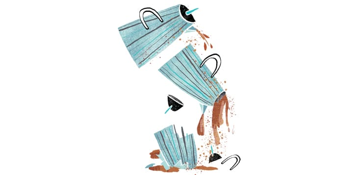illustration of coffee pot breaking