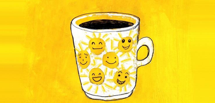 Coffee mug with suns painted on yellow acrylic background