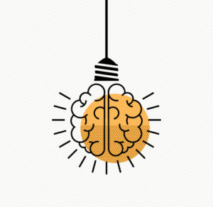 illustration light bulb brain
