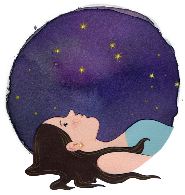 illustration woman looking up at night sky