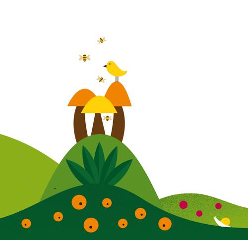 illustration bird perched on mushrooms