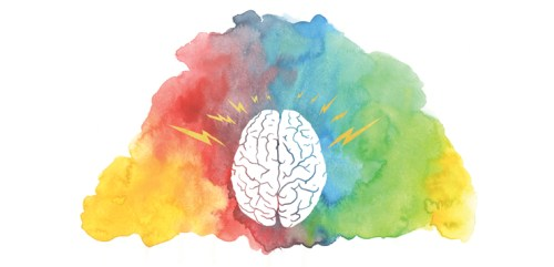 illustration of brain on watercolor background