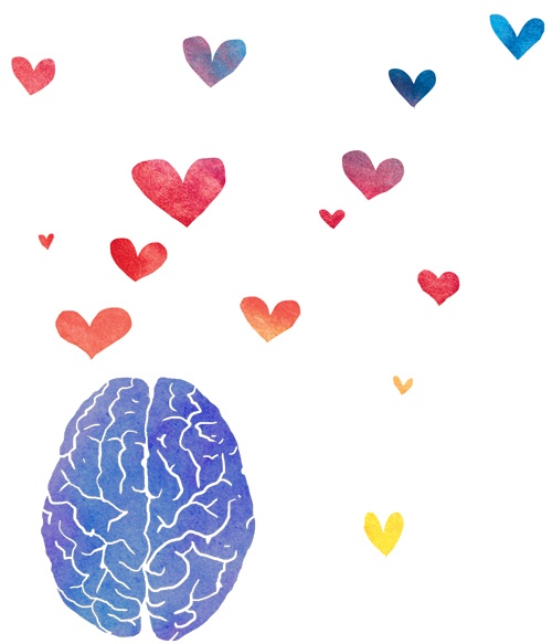 illustration brain with hearts floating out of top