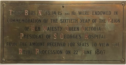 Plaque in St George's Hospital.