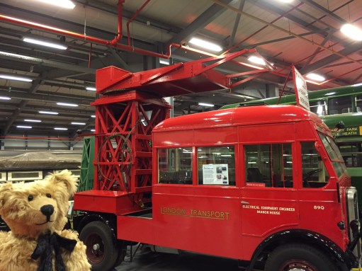 London Transport Museum: Tower vehicle to service overhead lines.