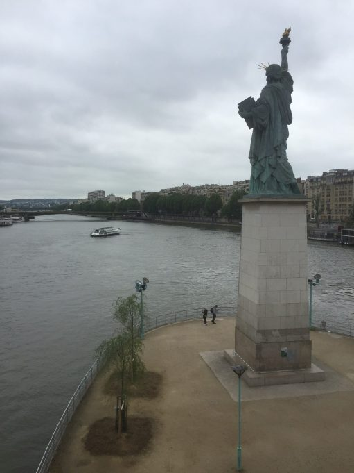 Paris: Replica Statue of Liberty, near the Grenelle Bridge on the Île des Cygnes, an island in the river Seine. 11.50 m (37 feet 9 inches) high. Said to face her larger sister in New York.