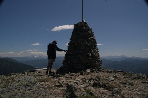 Austria: The summit, about 3,000 feet. Looking towards the mountains of Slovenia. Not mountaineering, but waymarked trails. Safe, but long uphill trudge. Too old now!