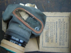 Ernie's War: Ernie's war time gas mask.