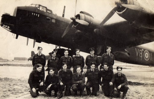 Ernie's War: Air and ground crew. Ernie is shown, third from left bottom row with his friend Paddy first left on that row. Peter Shuter the Flight Lieutenant fifth from left top row.
