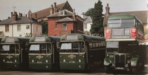 The Bench: Dorking Bus Garage 1969. 425 bus on the left.