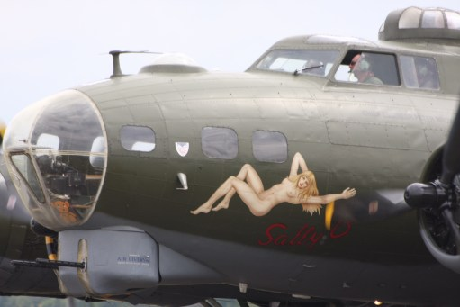 """Flying Legends Duxford. Close-up of the nose of """"Sally B""""."""