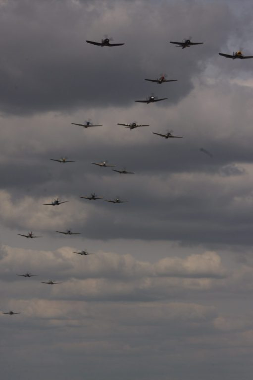 Flying Legends Duxford. The final Balbo (a flypast of all the planes at the show) over thirty WW11 aircraft. What a sight and sound.