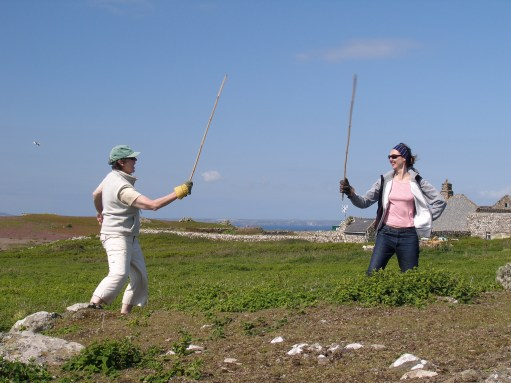 "Amber: With Diddley, ""bashing bracken"" on Skomer Island."