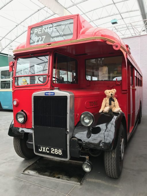Brooklands: A TD bus just like the one that took him over two hours to Brooklands. Driver and conductor. Seen here in the Brooklands bus museum.