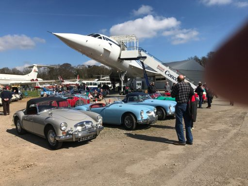 Brooklands: Vintage MGAs with Concorde at the MG Rally (VC10 in the background).
