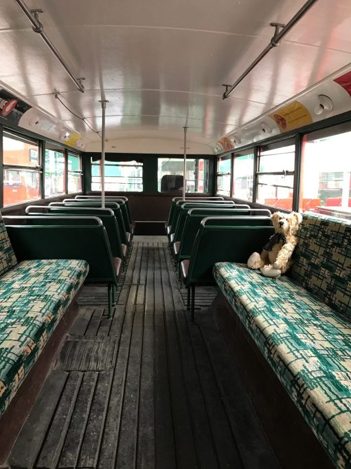 Brooklands: Inside a trolley bus.