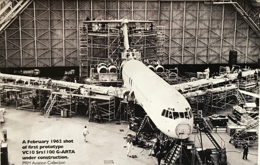 Brooklands: A February 1962 shot of the first prototype VC10 Srs1 100 G-ARTA under construction.