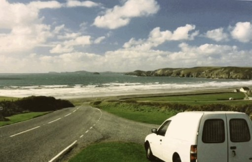 Little White Van: Little White Van (LWV) looking down to Newgale Beach and across to the St David's peninsular of wonderful Pembrokeshire.