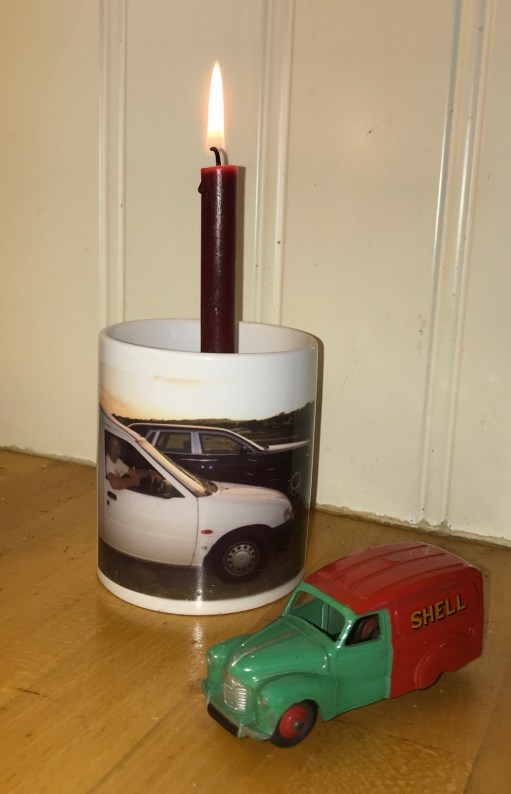 Little White Van: Lighting a Candle to Diddly: Candle in White Van Mug - and Dinky Toy.